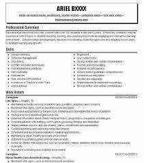 Caregiver Resume Objectives Resume Sample Livecareer