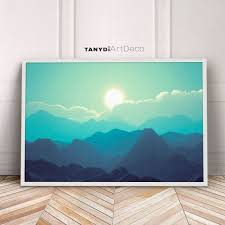 mountains digital painting teal blue