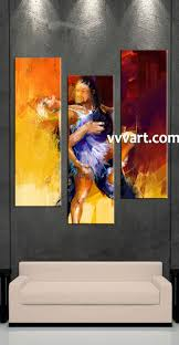 Large Living Room Paintings 3 Piece Yellow Canvas Modern Salsa Large Pictures
