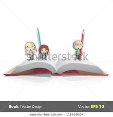 pop up book card with three friends drawing vector ilration
