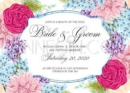 Chrysanthemum Wedding Invitation Card Template With Red Romantic