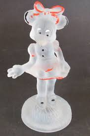 vintage walt disney minnie mouse frosted glass figurine hand painted long nose