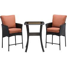 hanover strathmere allure 3 piece all weather wicker square patio bar height dining set with woodland rust cushions stralhbr3pcsq rst the home depot