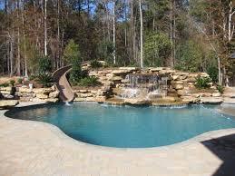 backyard pool with slides.  Pool Back Yard Water SlideWater Fall Americantraditionalswimmingpool Inside Backyard Pool With Slides L