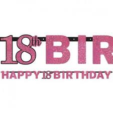 Pink Banners Banner Pink Celebration Happy Birthday 18th