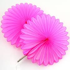 5 hot pink tissue paper fan decorations