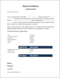 Employee Salary Certificate Templates For Ms Word Word Excel