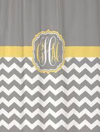 shower curtain chevron custom monogram for you shown in cool gray er yellow