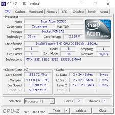 Intel Atom D2550 @ 1861.72 MHz - CPU-Z VALIDATOR
