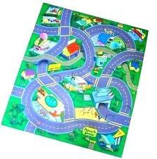 race car play mat train track rug town park felt