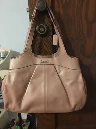 details about large light pink leather coach purse with three large internal compartments