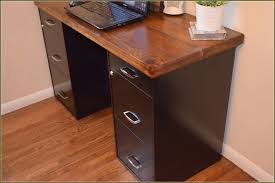 small desk with filing cabinet