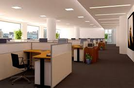 enganging office interior design ideas featuring interesting pole circular in middle and fascinating insulated work space captivating office interior decoration