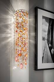 cylindrical wall light in pink and orange crystal masiero