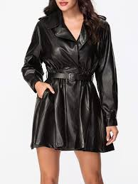 new arrival black trench coats lapel belt trench coat plain leather pockets ruffled hem leather collar material tf343547 for women