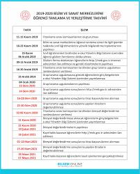 2019-2020 Bilsem Sınav Takvimi (Yeni)