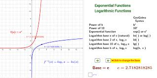 Exponential and Logarithmic Function Graphs (base > 1) - GeoGebra