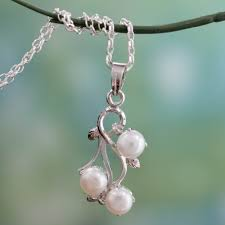sterling silver and white pearl necklace from india mystic fruit