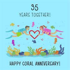 35th Wedding Anniversary Card Coral Anniversary New Design