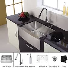 30 inch stainless steel farmhouse sink. Kraus 30 Inch Farmhouse Single Bowl Stainless Steel Kitchen Sink With Chrome Faucet And Soap Dispenser ExpressDecorcom