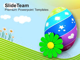 Spring Powerpoint Background Easter Bunnies Painted Eggs With Flower Spring Season