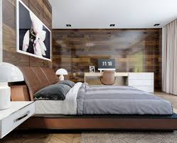 man cave bedroom with wood accent walls