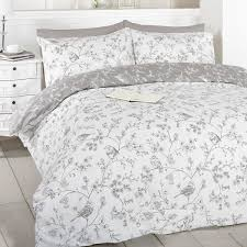 french bird toile duvet cover set taupe king size grey cotton and polyester