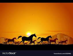 horses running in the sunset. Exellent Horses Horses Running In Field Vector Image On Running In The Sunset S