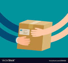 Courier Hands Parcel To Customer Delivery Concept