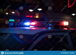 Download Police Lights Police Lights Flashing On Dark Street Stock Image Image Of