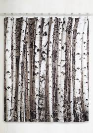 beyond the grove shower curtain in winter birch  tree shower
