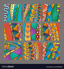 Intricate Patterns Unique Set Of Four Colorful Intricate Patterns Doodle Vector Image