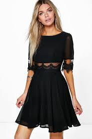 Boohoo Lilly Lace Mesh Insert Skater Dress In Black Lyst