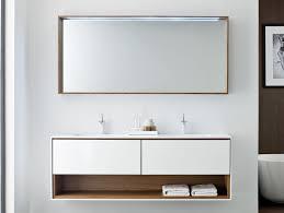 Bathrooms:Minimalist Bathroom With Minimalist Floating Bathroom Vanity Feat  Towel Storage And Large Mirror Customizing