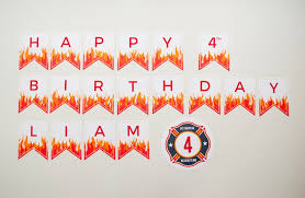 custom happy birthday banner personalized fire and flames printable happy birthday banner for a