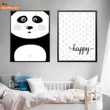 colorfulboy panda happy wall art canvas painting modern posters and prints nursery wall pictures for kids on colorful wall art for nursery with colorfulboy panda happy wall art canvas painting modern posters and