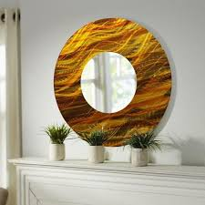 gold amber abstract large round metal wall art mirror decor accent by jon allen