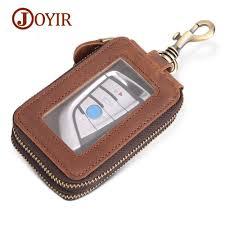 joyir vintage genuine leather key wallets men keychain covers zipper car key case bags men key holder housekeeper keys organizer