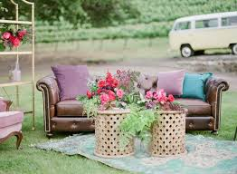 outdoor wedding furniture. outdoor lounge space rug bookshelf furniture california boho chic wedding styled shoot vintage 0