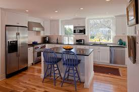 Small Kitchen Islands With Seating Kitchen Beach With Bin Pulls Blue Barstools  | Beeyoutifullife.com