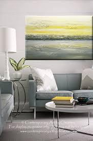yellow green grey wall art