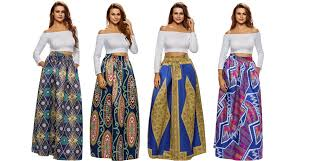African Skirts Patterns Unique Women's African Printed Pleated Maxi Skirt High Waist A Line Dress
