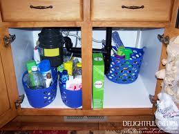 Under Kitchen Sink Cabinet Delightful Order Organizing Under The Kitchen Sink