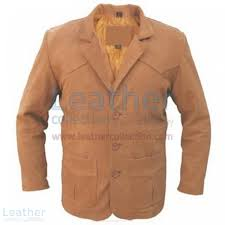 mens brown leather blazer front view