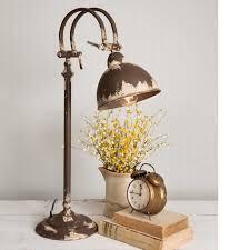distressed farmhouse style metal hampstead table lamp