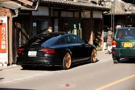 Sinister black Audi RS7 with gold Vossen wheels looks mean