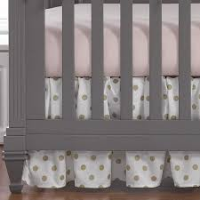 gold polka dots 2pc crib bedding liz