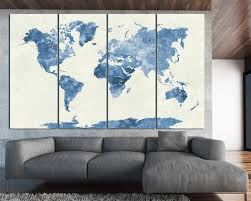 abstract world map 4 panels navy blue watercolor world map n canvas wall art for home