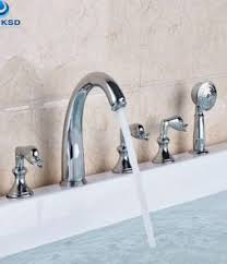 quality bathroom faucets. Ulgksd Chrome Bathtub And Shower Faucet Deck Mounted 5 Pcs New Arrival Bathroom With Handheld Spout Quality Faucets