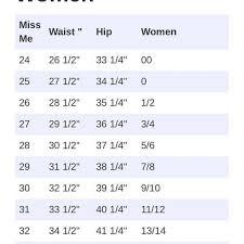Unfolded Jean Waist Size Chart Miss Sixty Size Chart Silver